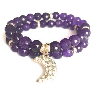 Amethyst Bracelet with Moon Charm